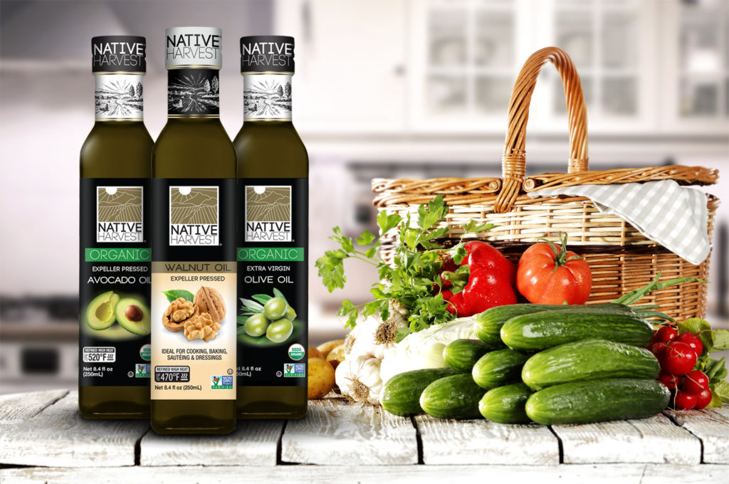 Native Harvest organic and nongmo cooking oils, new 250mL square glass bottle new product lineup in kitchen with healthy vegetables