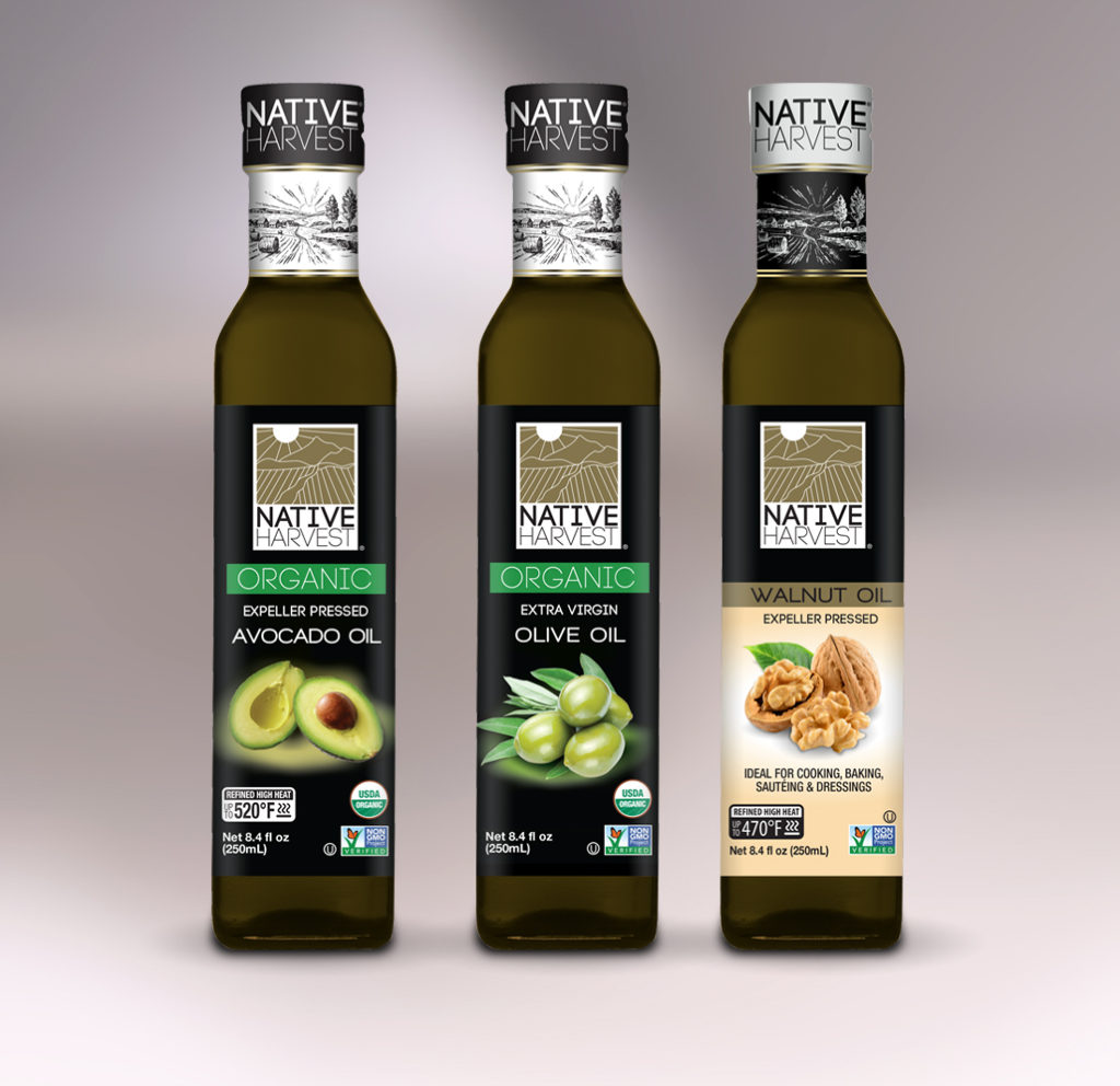 Native Harvest organic and nongmo cooking oils, new 250mL square glass bottle new product lineup